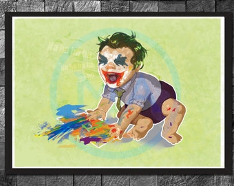 Baby Joker Children wall decor - DC Comics Superhero Print, Batman Comic Book Villain Bedroom Wall Art, Gotham City