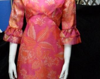 """Swinging London 1960's psychedelic Orange Splash hippie  mini dress """"DONERICA"""""""