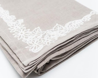 Pure linen tablecloth