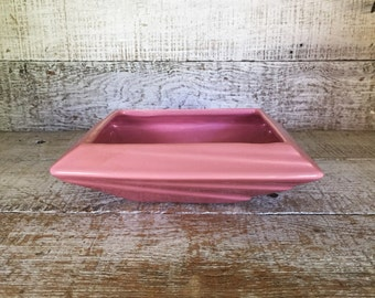 Planter Ceramic Planter Vintage Succulent Planter Mid Century Ceramic Terrarium Planter Pink Flower Pot Vintage Pink Square Flat Planter