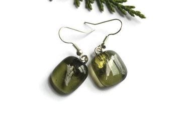 Olive Green Small Dangle Earrings, Green dangle drop earrings, Olive Green Fused Glass earrings, silver earrings, small dangle earrings