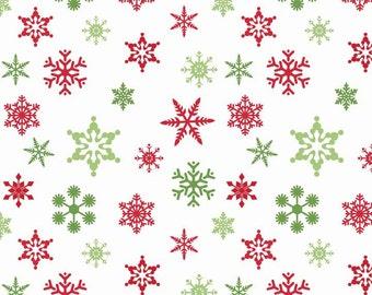 Holiday Snowflakes White Riley Blake fabric red green snowflake Christmas print sewing quilting apparel fabric red green snowflake on white