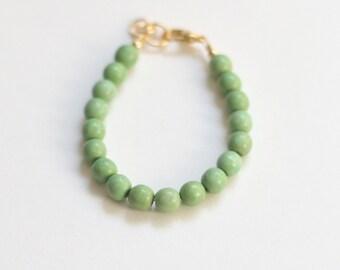 Moss Green Semi-precious Stone Bracelet, girls 5mm bead bracelet