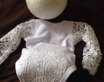 Beautiful Newborn Pure White Lace Longsleeved Onesie With matching lace headband and rosette