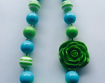 Girls Chunky Necklace, Girls Bubblegum Chunky Necklace, Lime Green and Blue Chunky Necklace