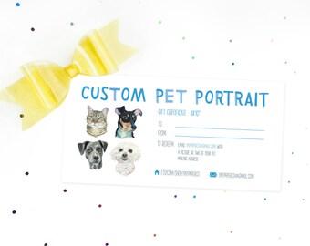 "Gift Certificate for Custom Pet Portrait 8x10""- Instant Download!"