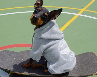 Dog Hoodie / Dog Sweatshirt / Dog Jacket / Dog sweater/ Grey Dog Hoodie