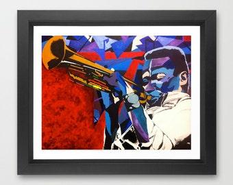Miles to the Sun by Vakseen - Miles Davis - Music Art Print - Jazz Art - Home Decor - Pop Art - Music Art Poster - Colorful Art - Music gift