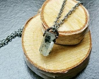 Aquamarine Included Black Tourmaline Copper Electroformed Necklace - Dainty Crystal Pendant - Throat Chakra Gemstone Jewelry - Boho Elegant
