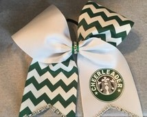 Handmade Starbucks Cheer Bow with or without BLING!!!Green/White Chevron attached to a Ponytail Holder!