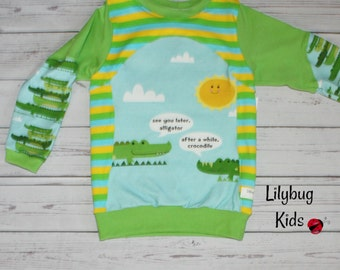 4T gator tee, see you later alligator, panel shirt, gators and crocs with lime green faux layered sleeves, ready to ship, stripes