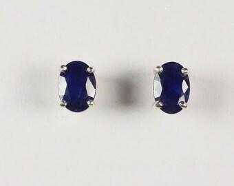 Sterling Silver Blue Sapphire Stud Earrings