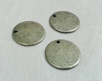 10 Pcs Antique Silver  16 mm Round Stamping Blank Disc ( 1 Hole -Thickness Of 1 mm ) 18 Gauge