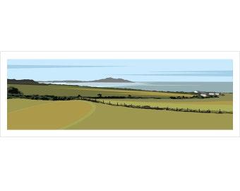 PANORAMIC Ltd Edition Giclee Print. 'Towards Holyhead'. Minimal contemporary archival art print - by Ian Mitchell