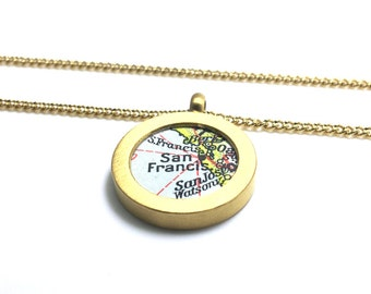 Your City. Pendant with vintage map. Personalized. Choose 1 town.