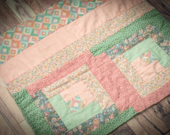 "Vintage Cutter Quilt Layer Pink & Green 23""x21"""
