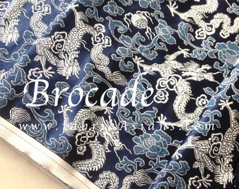 Dragon Brocade in Silver and Blue. Chinese Brocade.