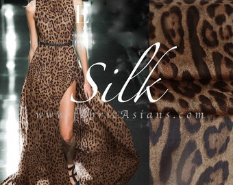 Brown Leopard. Silk Chiffon. Tonal Fabric