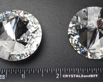 Rare Swarovski Elements Asymmetrical Beauty Rivoli Stone #1222, 38mm clear Crystal, Foiled. Impressive Off Centered Rhinestone for display