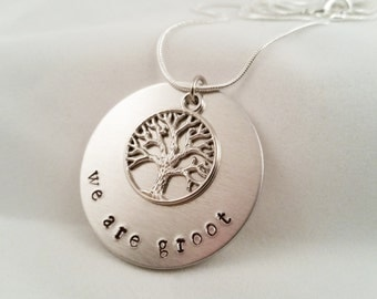 We Are Groot, Groot Necklace, Metal-Stamped Groot Necklace, Guardians of the Galaxy, Groot-Inspired