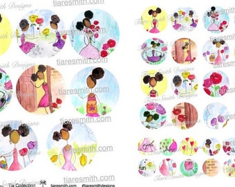 Tia Collection Printable, JPG/PDF Sticker Sheet, Collage Sheet, Planner Stickers, African American Stickers, Girls