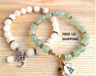 Intuition Alignment Gemstone Wrist Mala Stack; Yoga Jewelry, Great Gift, Spiritual Gifts; ITEM: MB-02B