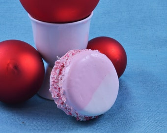 Peppermint Macaron Christmas Ornament, Holiday Tree Decoration, French Pastry, Faux Fake Cookie, Red, White, Pink, Candy Cane, Photo Prop