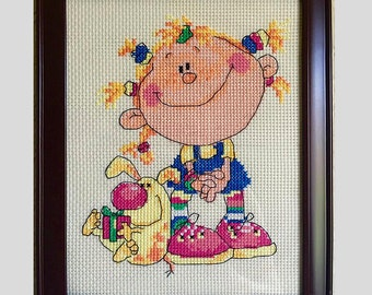 Framed,Cross Stitch,Embroidery,Home Decor,Design,Completed Cross Stitch, Finished Cross Stitch,Baby Shower,Christmas gift