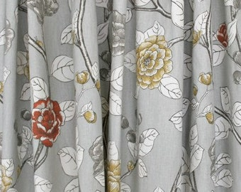 Floral Curtains Leda Peony Drapery Dove Dwell Studio Panels  Decorative Robert Allen Curtains  Grey Floral  Draperies ONE PAIR