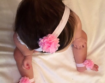 Flower headband & foot bows 3 Pc / Baby Girl Headband / Flower Foot Bows / Baby Show gift
