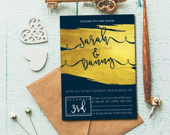 Faux Gold Foil Swish - Wedding Invitation