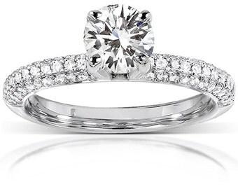 Forever One Round Moissanite & Diamond Engagement Ring 1 1/4 CTW in 14k White Gold