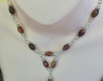 Natural Brown Picasso Gem bead Necklace