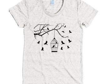 Birds and cage - American Apparel Tri-Blend Short Sleeve Women's Track T - Made in USA