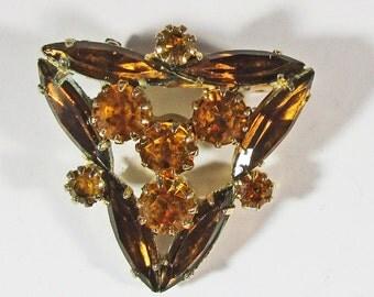Vintage - Collectible - Triangle Shaped Rhinestone Pin - Jewelry - Gold - Rhinestones - Pin - Brooch - Unique - Brilliant - Triangle - Gift