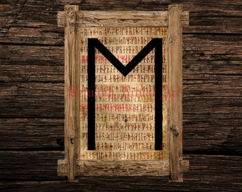 Ehwaz print, rune illustration, Elder Futhark art, viking home decor, magical illustration, esoteric, magic, occult canvas poster #339.19