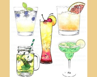 5 Handpainted watercolor Wedding Cocktail Signature Drinks Clip Art Pack- Free Commercial License 300 dpi PNG + JPG Files - Instant Download