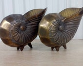 Pair of Vintage Hollywood Regency Metal Nautilus Planters