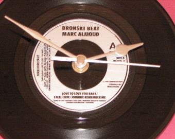 "Bronski beat/Marc Almond love to love you baby  7"" vinyl record clock"