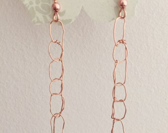 Crochet Wire Earrings, Ready To Ship, Dangle Earrings, Copper Earrings, Stick Earrings, Birthday Present