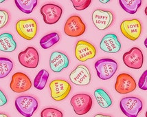 Timeless Treasures OOP Food Fabric - Sweets and Treats Collection - Conversation Hearts gm-c4093-pink - One Yard