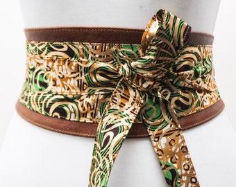 Brown Leather Green Ankara Print Obi Belt |Ankara Wax Print|Leather tie belt| Corset Belt| Handmade Belt |Plus size belts| African Print