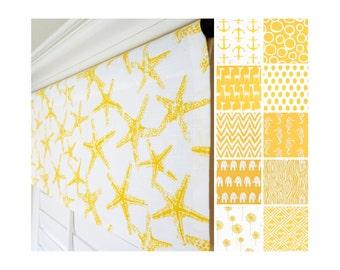 "Yellow Window Treatment Valance.Yellow Valance.Nautical Valance.Nautical Decor.Nursery Valance.Anchors Kitchen Valance.52""x15"""