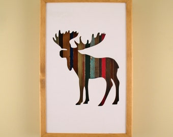 """Moose - 17"""" by 11"""" Recycled Wood Silhouette Wall Art"""