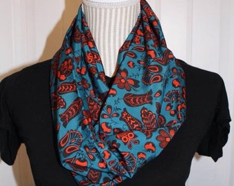 Teal and red infinity scarf