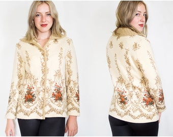 Vintage Sweater | 70s Sweater | Baroque Sweater | Ornamental Floral Sweater | Cream Beige Sweater - Size M/L Medium Large