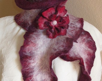 Felted Scarf with Flower Brooch, Hand Felted Wine-Colored Scarf