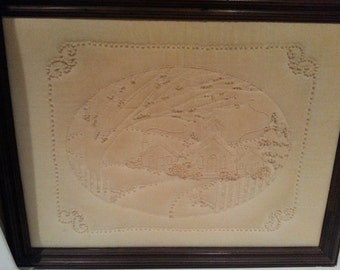 SALE!  !!!  Vintage Framed Hand-Made Candlewicking (Knotted) and Trapunto Cabin Scene