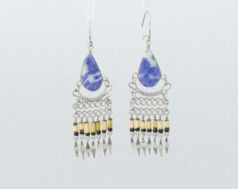 "Chandelier Earrings w/ Blue Stone 2.75"" Long Hang Perfect Peruvian Bamboo Earrings Bamboo Jewelry B2"