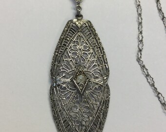 "Vintage Art Deco Filigree Sterling Silver Pendant With Original 18"" Paperclip Chain"